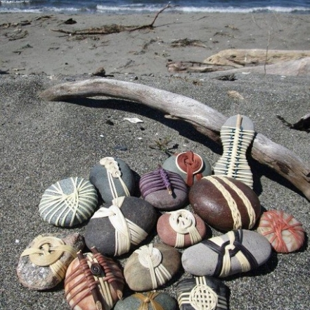 cane-wrapped beach rocks