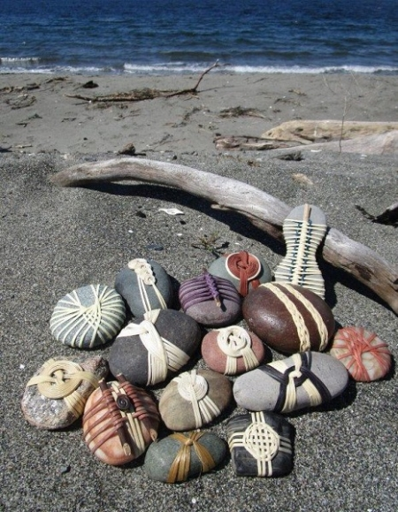cane-wrapped beach rocks